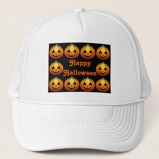 Hut-glücklicher Halloween-Kürbis Truckerkappe