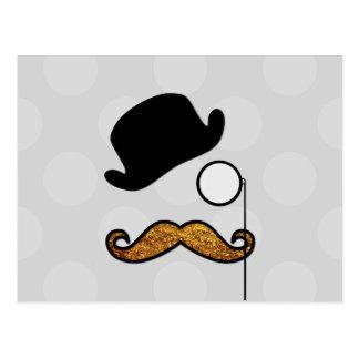Hut, Monocle, Schnurrbart, Glitter - schwarzes Postkarte