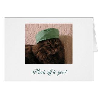 Hüte weg zu Ihnen - Glückwünsche! Karte