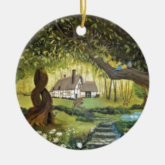 Hütte im Holz Rundes Keramik Ornament