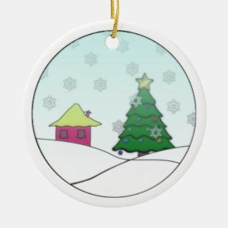 Hütte in Navidad Rundes Keramik Ornament