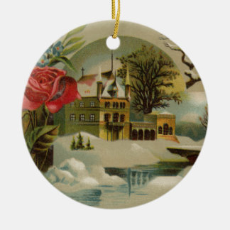 Hütte mit Rosen Keramik Ornament