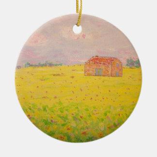 Hütte Provence Frankreich mit Sonnenblumefeld Rundes Keramik Ornament