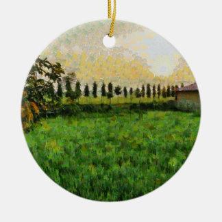 Hütte und Bauernhof Rundes Keramik Ornament