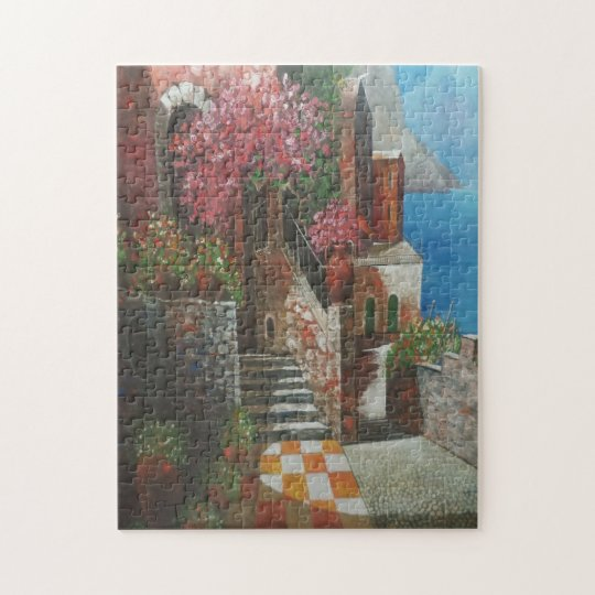 Hütte und BlumenFoto-Puzzlespiel