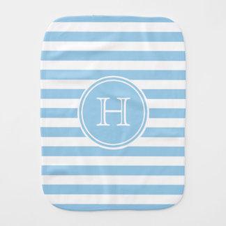 Hütten-blaues und weißes Streifen-Monogramm Baby Spuchtücher