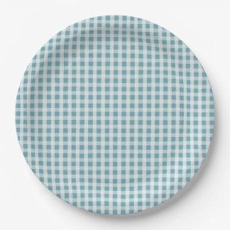 Hydrangea-blauer Gingham-Karo-kariertes Muster Pappteller 22,9 Cm