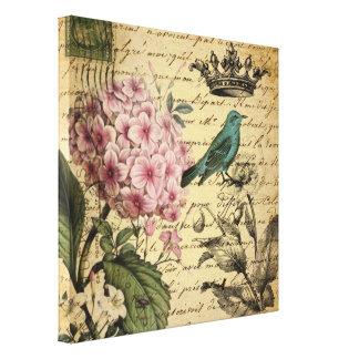 Hydrangea-Franzosevogel Kunst der Vintagen Krone Leinwanddruck