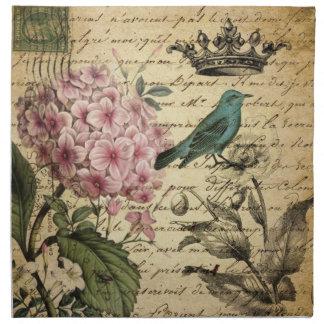 Hydrangea-Franzosevogel Kunst der Vintagen Krone Serviette