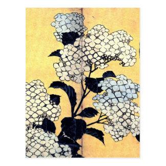Hydrangea und Schwalbe durch Katsushika Hokusai Postkarte