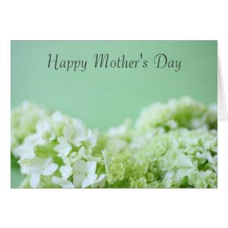 Hydrangeas am grünen Tag der Mutter Karte