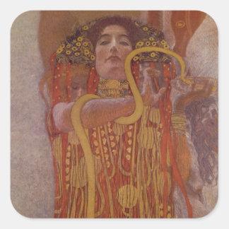 Hygeia durch Gustav Klimt Quadratischer Aufkleber