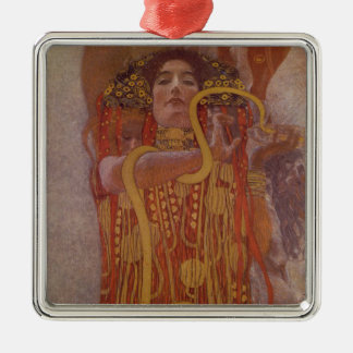 Hygeia durch Gustav Klimt Quadratisches Silberfarbenes Ornament