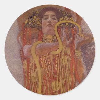 Hygeia durch Gustav Klimt Runder Aufkleber