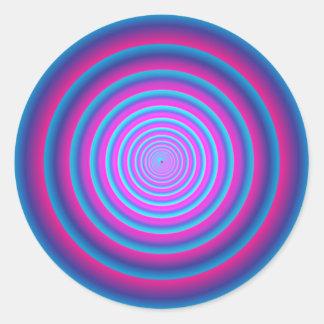 Hypnotisches flockiges lila verrücktes runder aufkleber