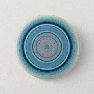 Hypnotisches Kreis-Aqua-Weiß Runder Button 5,1 Cm