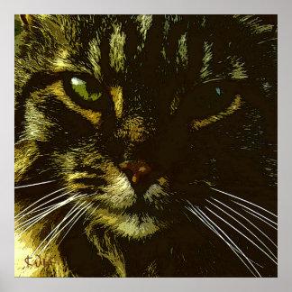 Hypnotizing Katzen-Digital-Kunst-Hypnose Poster