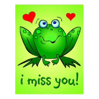 I grüner Frosch-Herzen Fräulein-You Cute Postkarte