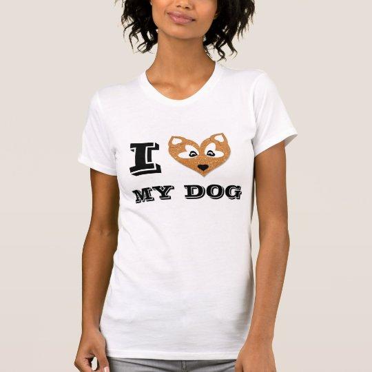 I Heart My Dog, Brown Glitter Dog, T-Shirt