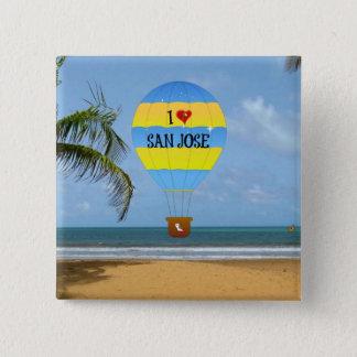 I Heißluft-Ballon-Strand-Szene Liebe-San Jose Quadratischer Button 5,1 Cm