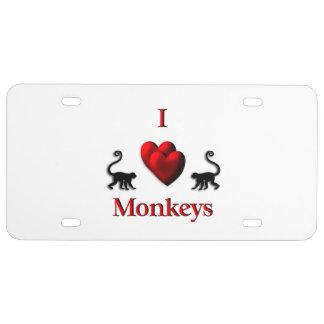 I Herz-Affen US Nummernschild