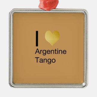 I Herz-Argentinien-Tango Quadratisches Silberfarbenes Ornament