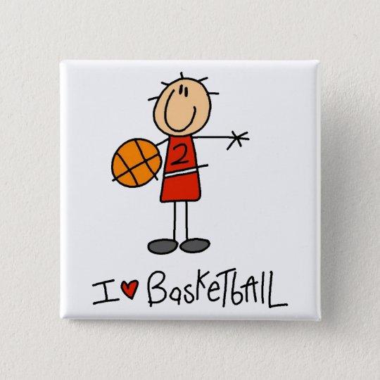I Herz-Basketball Quadratischer Button 5,1 Cm