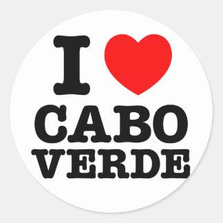 I Herz Cabo Verde Runder Aufkleber