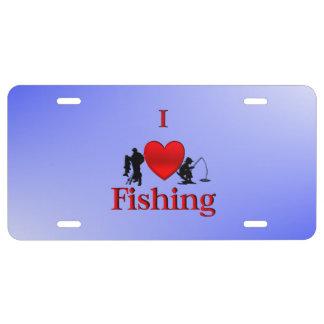 I Herz, das Blau fischt US Nummernschild