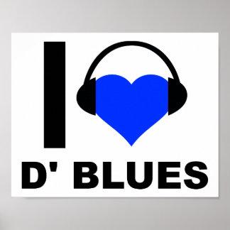 I Herz D'Blues lustiges Plakat