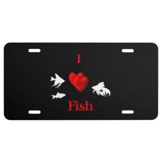 I Herz-Fisch-Dunkelheit US Nummernschild