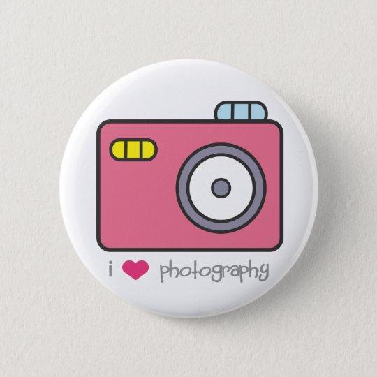 I Herz-Fotografie-Knopf Runder Button 5,1 Cm