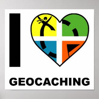 I Herz Geocaching lustiges Plakat