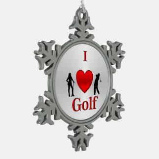 I Herz-Golf-Sport Schneeflocken Zinn-Ornament