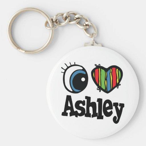 I Herz (Liebe) Ashley Standard Runder Schlüsselanhänger