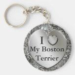 I Herz (Liebe) mein Boston-Terrier Keychain Schlüsselbänder