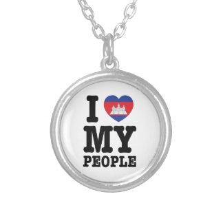 I Herz (Liebe) meine Khmer-Leute Versilberte Kette