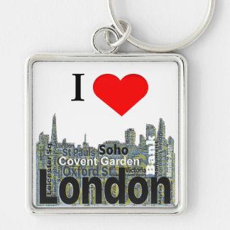 I Herz-London-Wort-Kunst Silberfarbener Quadratischer Schlüsselanhänger