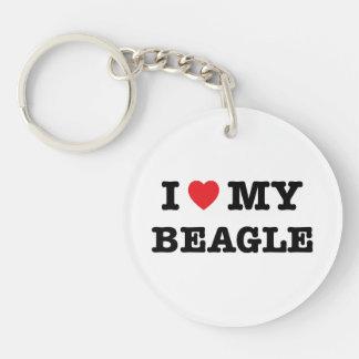 I Herz mein Beagle-Acryl Keychain Einseitiger Runder Acryl Schlüsselanhänger