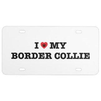 I Herz mein Border-Collie-Kfz-Kennzeichen US Nummernschild
