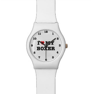 I Herz mein Boxer nummeriert Armbanduhr