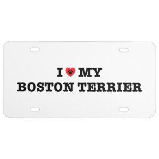 I Herz mein Kfz-Kennzeichen Bostons Terrier US Nummernschild
