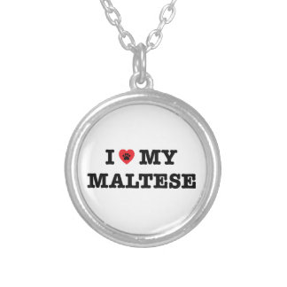 I Herz mein maltesisches Versilberte Kette