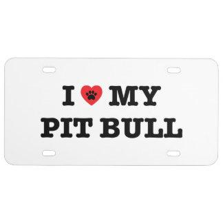 I Herz mein Pitbull-Kfz-Kennzeichen US Nummernschild