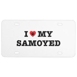 I Herz mein Samoyed-Kfz-Kennzeichen US Nummernschild