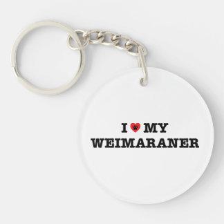 I Herz mein Weimaraner Acryl Keychain Einseitiger Runder Acryl Schlüsselanhänger