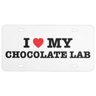 I Herz meine Schokoladen-Labrador-Lizenz-Platte US Nummernschild