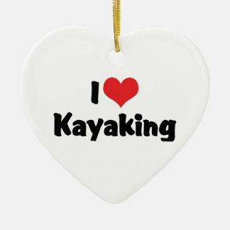I Kayaking Liebe-Herz - Fluss-Flößen Keramik Herz-Ornament