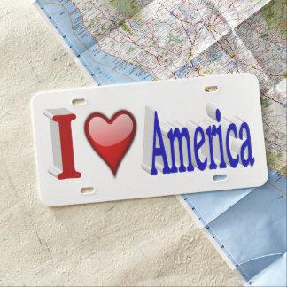 I Kfz-Kennzeichen, Rot u. Blau Herz-Amerikas 3D US Nummernschild