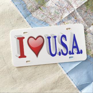 I Kfz-Kennzeichen, Rot u. Blau Herz USA 3D US Nummernschild